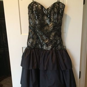 Vintage Strapless Sequins Top & Layered Dress